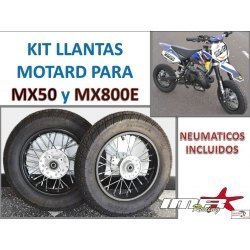 KIT LLANTAS MOTARD+NEUMATICOS MX50-MX800E